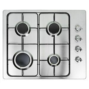 electriQ 60cm 4 Burner Gas Hob - Stainless Steel