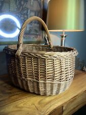 WICKER BASKET VINTAGE SHOPPING PICNIC WITH HANDLE Medium NATURAL Shabby Chic