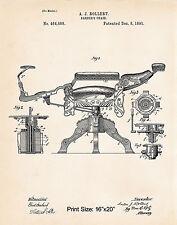 "1891 Vintage Barber Shop Posters Decor 16""x20"" Patent Art Print Gift Ideas"