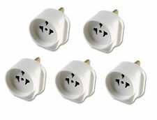 5x All Continents Countries Schuko Visitor to UK Travel Plug Mains Adaptor White