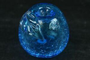 Clear See Through Blue Crackle Small Glass Apple Home Table Desk Shelf Décor