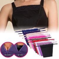 Women Secret Lace Clip-on Mock Camisole Bra Overlay Modesty Panel Metal Button