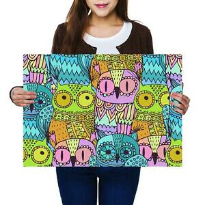 A2 | Colourful Owls Bird Wise Cartoon Size A2 Poster Print Photo Art Gift #13213