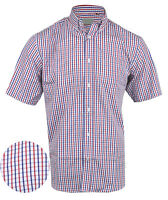 Mens Poly cotton Check Short Sleeve Shirt Soft Work Casual Button Collar M-5XL