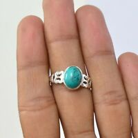 Valentine Gift Turquoise Handmade Jewelry 925 Solid Sterling Silver Ring Size 8