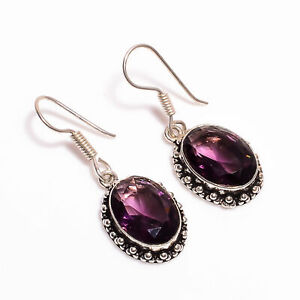 Black Onyx Tourmaline Gemstone 925 Sterling Silver Earrings 2.6_P29