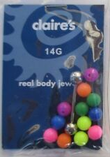 s H straight multi bead 14g 5/8 surgical steel TONGUE BARBELL BODY JEWELRY
