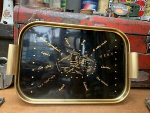 Vintage Gilt Serving Tray Drinks Cocktail Retro 50s 60s Tray Mid-Century