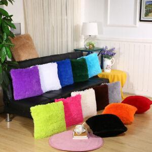 Soft Fluffy Faux Fur Plush Square Throw Waist Pillow Case Cushion Covers Decor