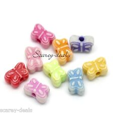 100 x 8MM butterfly BEADS mixed colours necklace bracelet earring 1ST CLASS POST