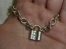Tiffany & Co. 1837 Pad Lock Charm Bracelet 925 Sterling Silver Chain Authentic