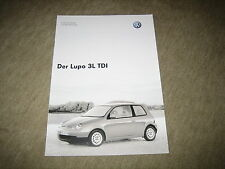 VW Lupo 3L TDI technische Daten Prospekt Brochure von 5/2003, 10 Seiten