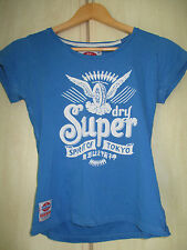 ladies SUPERDRY BLUE COTTON CREW NECK T SHIRT SIZE MEDIUM
