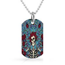 The Grateful Dead American Beauty Skull Rose Dog Tag 30 inch Ball Chain Necklace