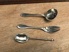 3 cuillères et fourchette,argent massif,XIX°.
