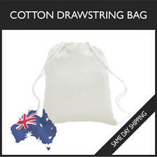 Cotton White Sml Drawstring BAG GYM SPORTS SWIM SCHOOL DANCE SHOE FOOTY BACKPACK