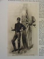 """Great B/W Print - """"OFFICER OF ARTILLERY ... 1862""""  Published in 1890 by G.B."""