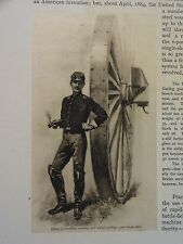 """Great B/W Print - """"Officer Of Artillery . 1862"""" Published in 1890 by G.B."""