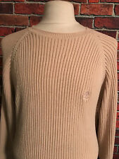 Timberland Mens XXL Tall Beige Cable Knit Crewneck Cotton Pullover Sweater