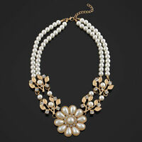 Crystal Pearl Flower Jewelry Bib Choker Chunky Statement Collar Necklace Gift