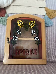 Handpainted Wooden Spice Rack Cupboard