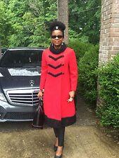 Designer Bloomingdale's Princess Full length Red wool & Black fur trim Coat S-8
