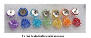 07 Rose Handmade DRAWING PUSH PINS THUMB TACK 4 NOTICE BOARD RAINBOW COLOURS NEW