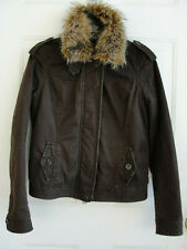Abercrombie and Fitch Women Brown Thinsulate Jacket Faux Fur Collar Size M