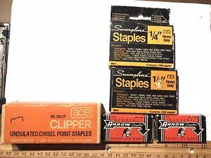 Vintage LOT STAPLES Boxes Arrow Ace Clipper Swingline Chisel Point Heavy Duty