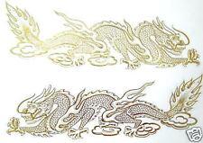 10 (2x5)  AUFKLEBER Sticker DRACHE Drachen Dragon China gold je 11x3 cm