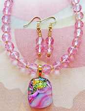 """PINK GLASS necklace DICHRO PENDANT earrings 16 1/2"""""""