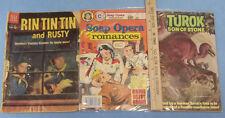 3 Vintage Comic Books Rin Tin Tin Soap Opera Romance & Turok Son of Stone