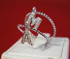 Anello con charms lettera iniziale Oro bianco Diamanti -Confezione regalo gratis