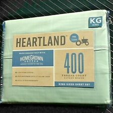 New MINT GREEN 4-pc Heartland 400 TC 100% HomeGrown Cotton Sateen KING Sheet Set