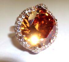 Huge! Rose Gold over Sterling Silver Sparkling Pave CZ and Large Orange CZ Ring