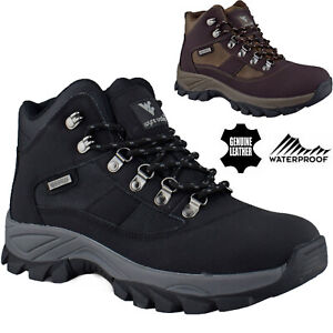 Mens Waterproof Leather Ankle Boots Walking Hiking Trail Boots Trainer Shoes Sz