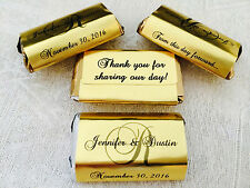 180 GOLD FOIL MONOGRAM WEDDING Candy wrappers/labels 4 HERSHEY MINIATURES FAVORS