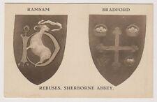 Dorset postcard - Rebuses, Sherborne Abbey (Ramsam & Bradford)