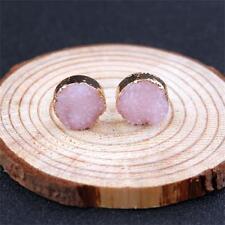 Women Unique Natural Stone Durzy Amethyst Crystal Quartz Ear Stud Earrings 1pair Pink