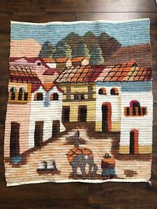 Hand Woven Alpaca Coiled Wool Folk Art Tapestry Large Wall Hanging Peru Chile