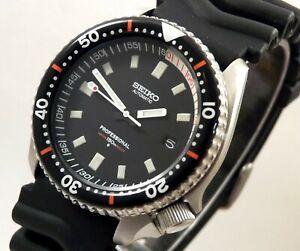 Seiko Ceramic Black Easy To Read 6105 Automatic Diver Date Watch Custom 7002 Mod