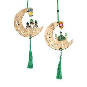 Set of 2 Green Tassel Wooden Crescent Moon Eid Ramadan Hanging Decorations
