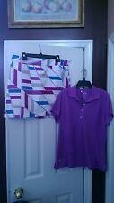 NWT Ladies ADIDAS White Purple Golf Outfit Skort Short Sleeve Shirt size 10 L