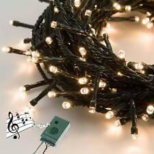 CATENA LED LUCE CALDA NATALE MUSICA NATALIZIE 200 LED 14.5 MT MUSICALE DECORAZIO