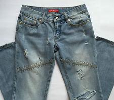 Miss ok jeans tg 42 M donna gamba dritta strappi azzurro usato vita bassa T489