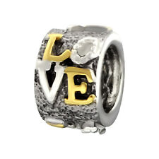 14ct Gold-Plated 925 Sterling Silver 'Love' Charm Bead