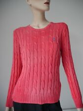 POLO-RALPH LAUREN-Pullover NEU Gr L Rot Pima-Baumwolle Zopf-Muster Used Look