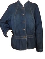 A N A Women's Jean Jacket Plus Size 2X Blue Denim Button Closure Long Sleeve