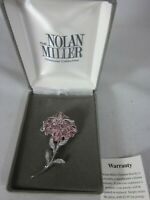 Gorgeous Nolan Miller Brooch Rhinestone Flower Pin Pink Crystals