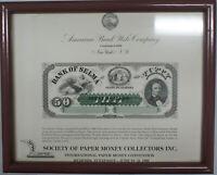Framed ABNC Souvenir Card SO 15 TN 1981 SPMC $50 Bank of Selma AL Large Note